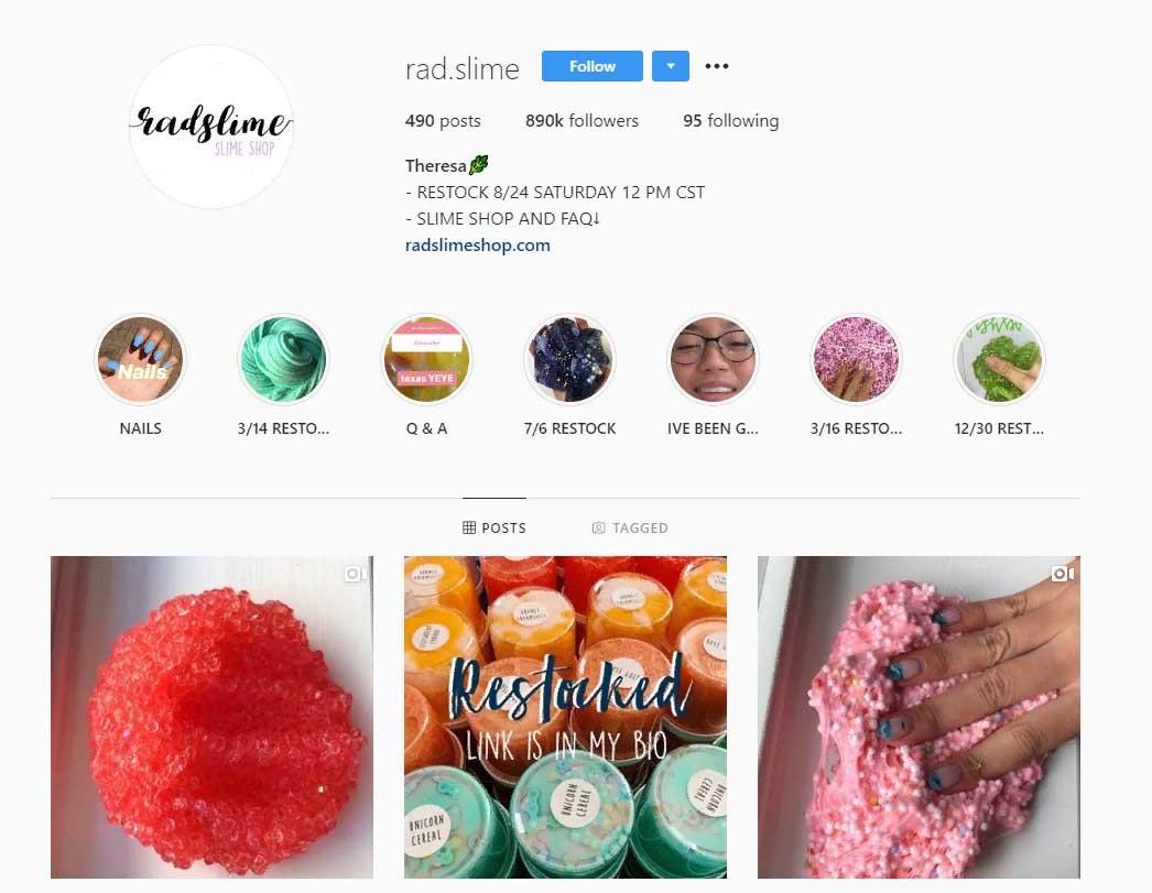 rad.slime Instagram account screenshot